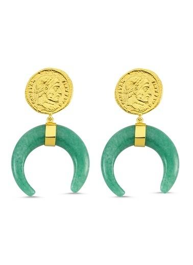 Reian Jewelry Coın Green Quartz Küpe Altın